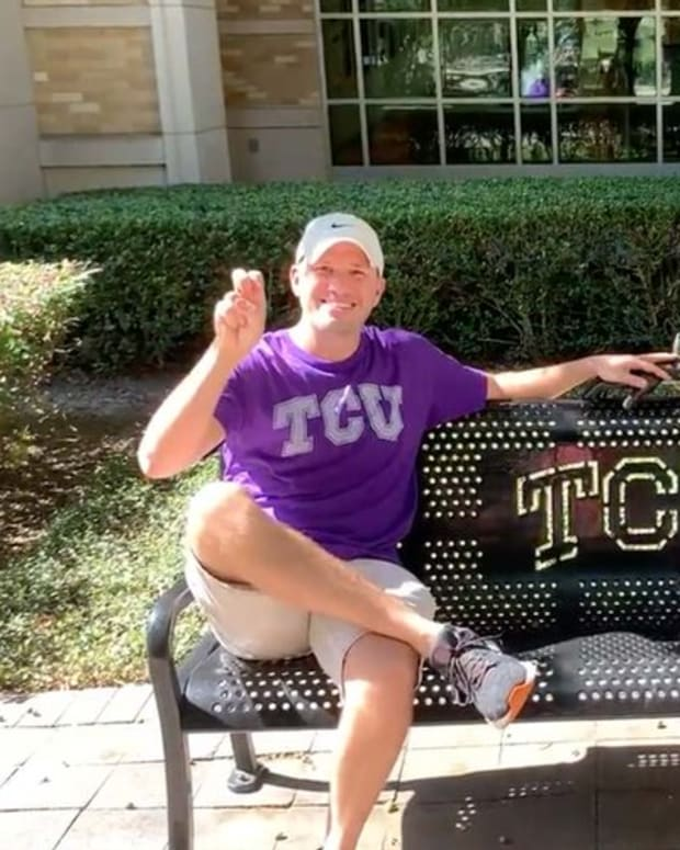 Andrew Bauhs of College Football Tour visited TCU as his 88th stop on his journey to attend a game at all 130 FBS stadiums.