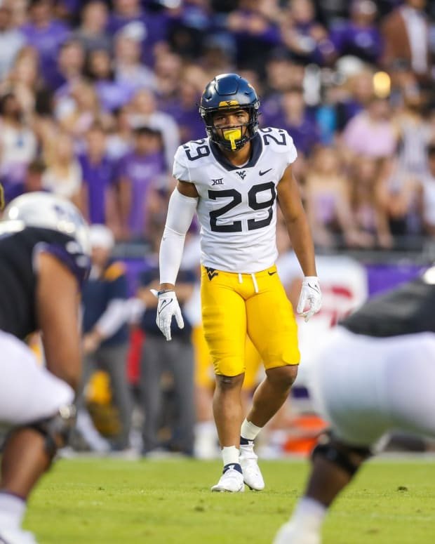 Oct 23, 2021; Fort Worth, Texas, USA; West Virginia Mountaineers safety Sean Mahone (29) during the first quarter against the TCU Horned Frogs at Amon G. Carter Stadium.