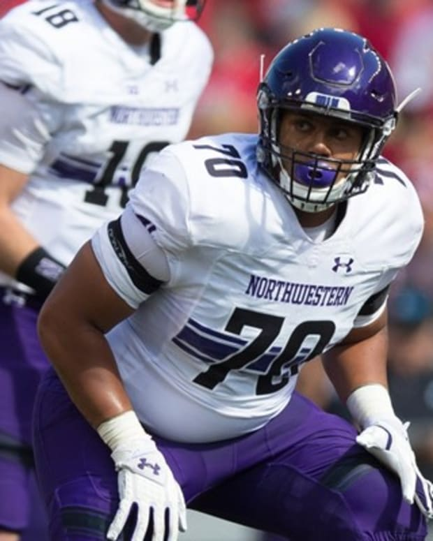 Sep 30, 2017; Madison, WI, USA; Northwestern Wildcats offensive lineman Rashawn Slater (70) during the game against the Wisconsin Badgers at Camp Randall Stadium.
