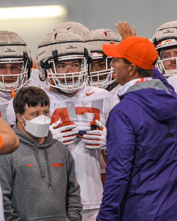 Clemson head coach Dabo Swinney addresses team before a spring practice