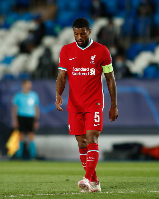 Georginio Wijnaldum of Liverpool during the UEFA Champions League, Quarter final, 1st leg football match between Real Madrid and Liverpool FC on April 6, 2021 at Alfredo Di Stefano stadium in Valdebebas, Madrid, Spain - Photo Oscar J Barroso / Spain DPPI / DPPI / LiveMedia/Sipa USA