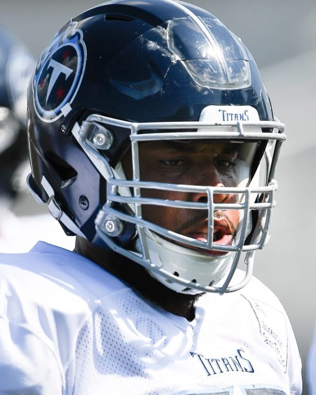 Titans offensive guard Jamil Douglas (75) moves to the next drill during practice at Saint Thomas Sports Park Wednesday, July 31, 2019, in Nashville, Tenn.