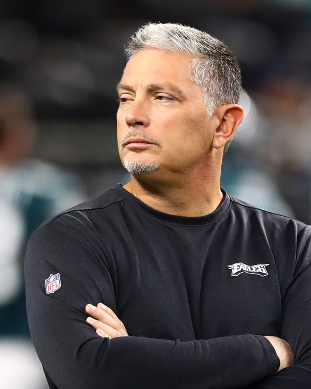 Philadelphia Eagles defensive coordinator Jim Schwartz prior to the game against the Dallas Cowboys at AT&T Stadium.