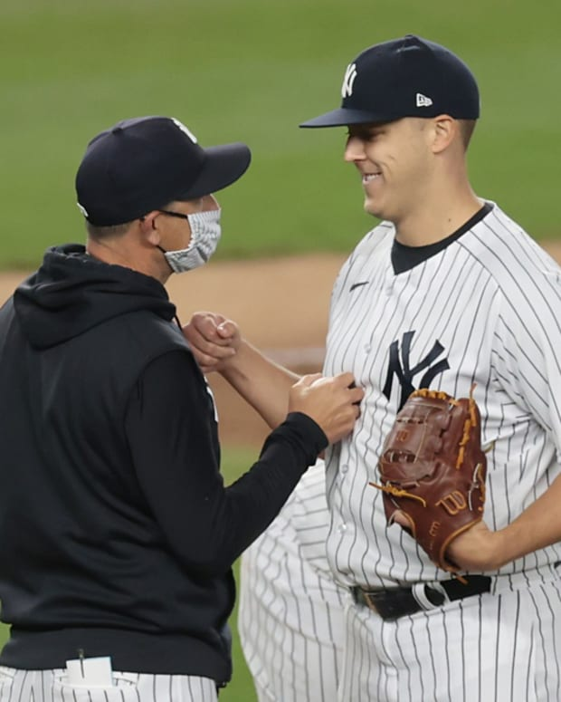 Jameson Taillon smiles after Yankees debut