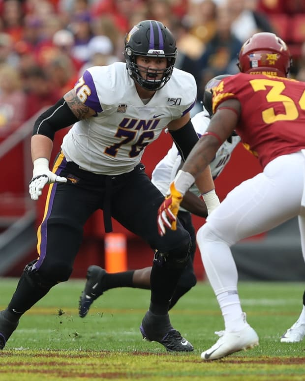 Northern Iowa Panthers offensive lineman Spencer Brown (76) blocks against the Iowa State Cyclones at Jack Trice Stadium.