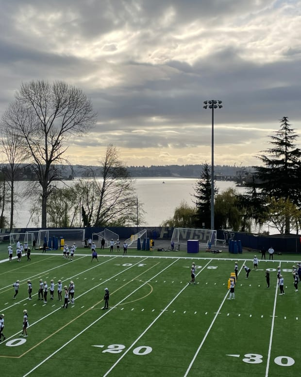It was cold but scenic at Husky spring practice.