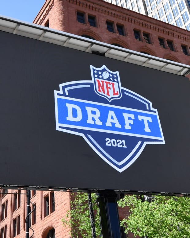 May 23, 2019; Cleveland, OH, USA; Signage for the 2012 NFL Draft during a press conference in Public Square to announce Cleveland as the host of the 2021 NFL draft. Mandatory Credit: Ken Blaze-USA TODAY Sports