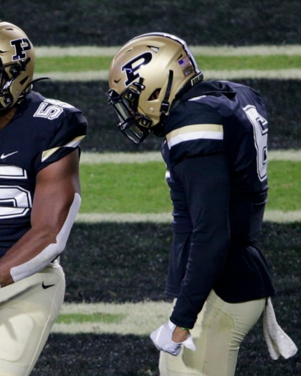 Purdue linebacker Derrick Barnes (55) celebrates a stop during the first quarter of a NCAA football game, Saturday, Nov. 14, 2020 at Ross-Ade Stadium in West Lafayette. Cfb Purdue Vs Northwestern