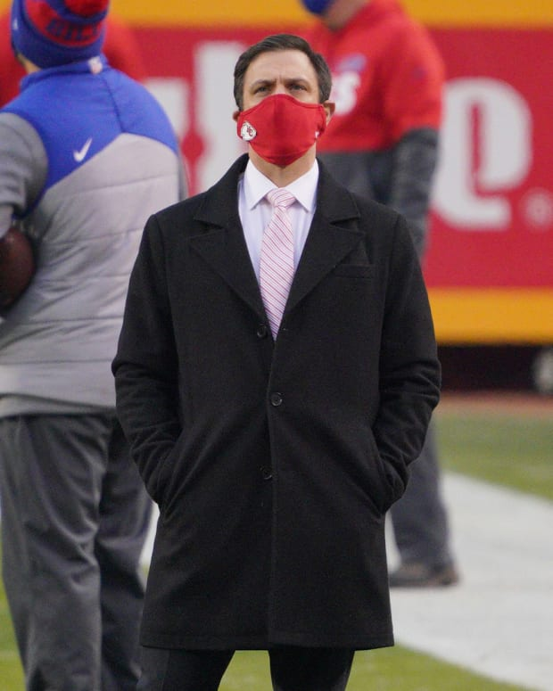 Jan 24, 2021; Kansas City, Missouri, USA; Kansas City Chiefs general manager Brett Veach on field before the game against the Buffalo Bills in the AFC Championship Game at Arrowhead Stadium. Mandatory Credit: Denny Medley-USA TODAY Sports