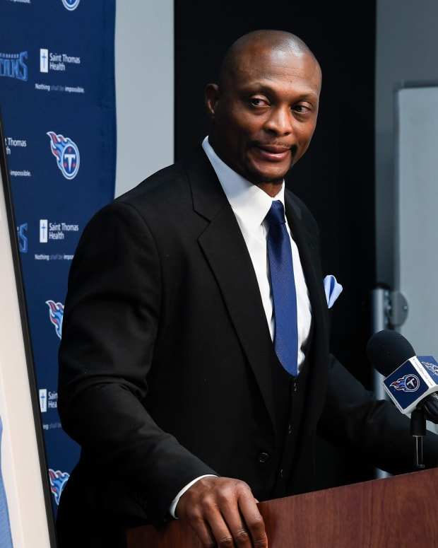 Former Titans running back Eddie George reflects on the time that he played for the organization as the team announces they will retire his and Steve McNair's jerseys during an a press conference at Saint Thomas Sports Park Wednesday, June 12, 2019, in Nashville, Tenn.