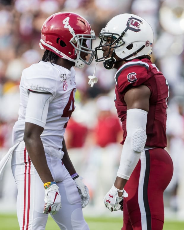 Sep 14, 2019; Columbia, SC, USA; Alabama Crimson Tide wide receiver Jerry Jeudy (4) and South Carolina Gamecocks defensive back Jaycee Horn (1) exchange words at Williams-Brice Stadium. Mandatory Credit: Jeff Blake-USA TODAY Sports