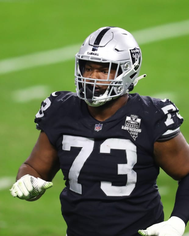 Dec 26, 2020; Paradise, Nevada, USA; Las Vegas Raiders defensive tackle Maurice Hurst (73) against the Miami Dolphins at Allegiant Stadium. Mandatory Credit: Mark J. Rebilas-USA TODAY Sports