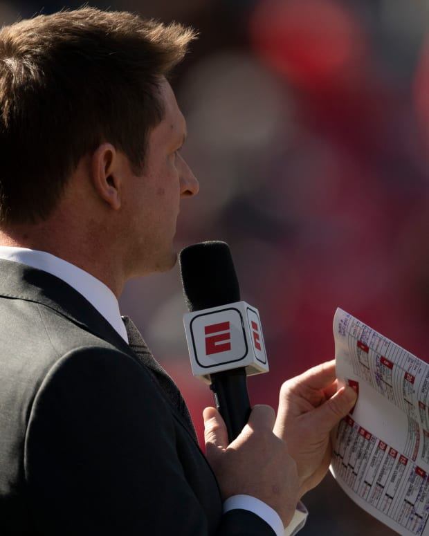 Nov 2, 2019; College Park, MD, USA; Todd McShay an American football television analyst and commentator stands on the field during the first half of the game between the Maryland Terrapins and the Michigan Wolverines at Capital One Field at Maryland Stadium. Mandatory Credit: Tommy Gilligan-USA TODAY Sports