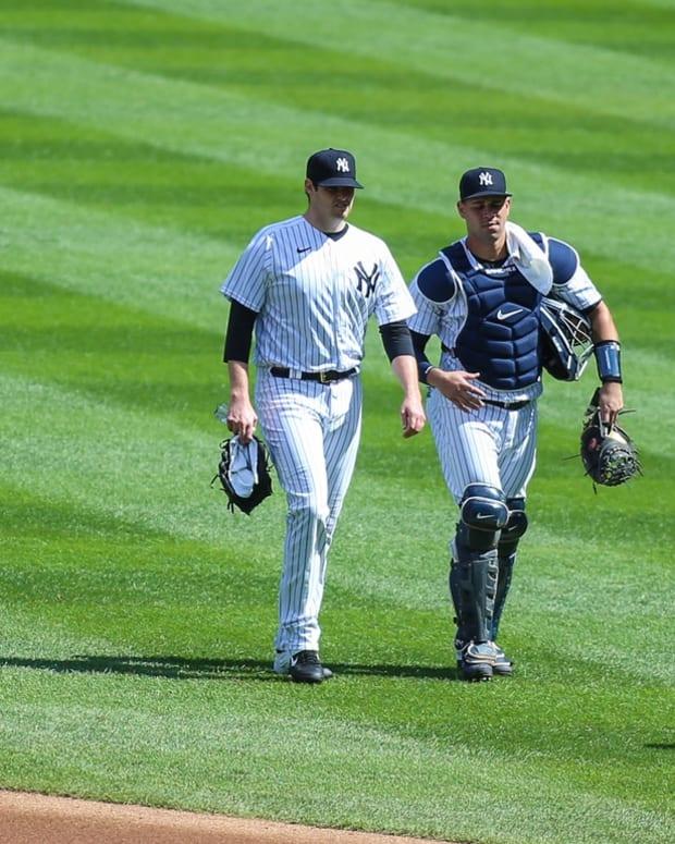 Yankees catcher Gary Sanchez and pitcher Jordan Montgomery
