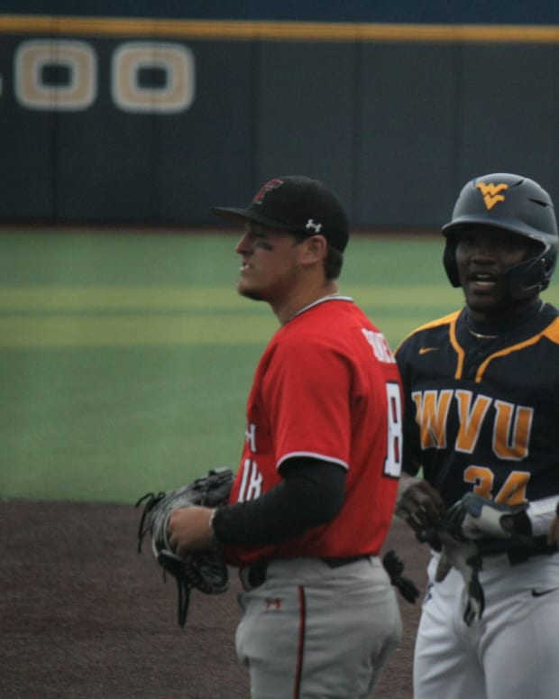 West Virginia catcher Paul McIntosh