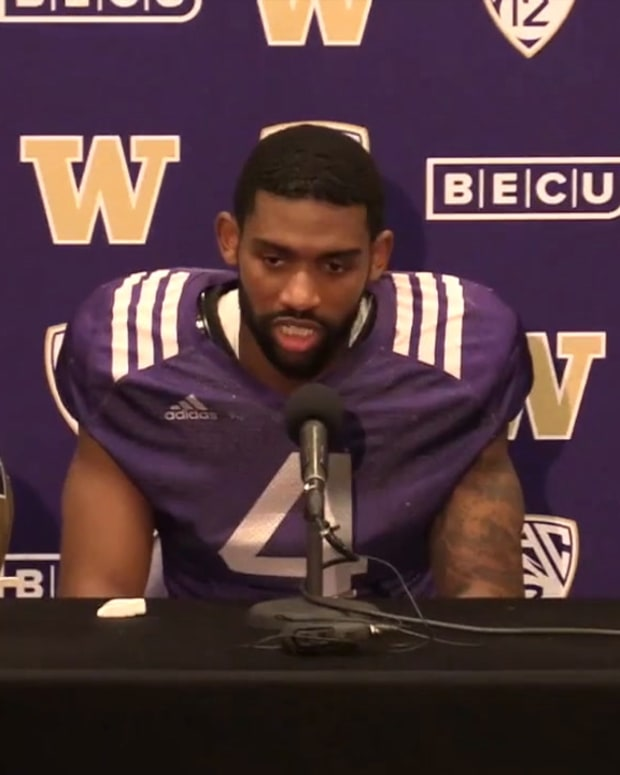 Terrell Bynum meets with the media after Saturday's scrimmage.