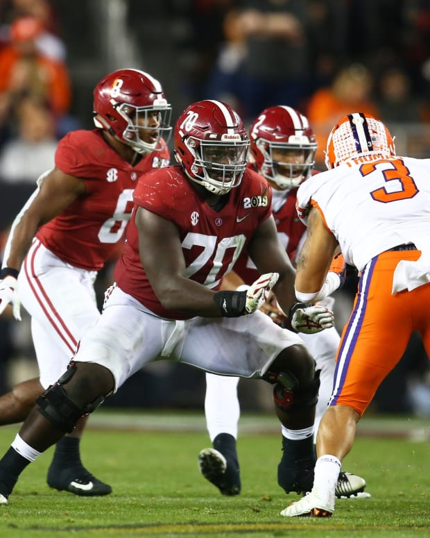 Jan 7, 2019; Santa Clara, CA, USA; Alabama Crimson Tide offensive lineman Alex Leatherwood (70) against the Clemson Tigers in the 2019 College Football Playoff Championship game at Levi's Stadium. Mandatory Credit: Mark J. Rebilas-USA TODAY Sports