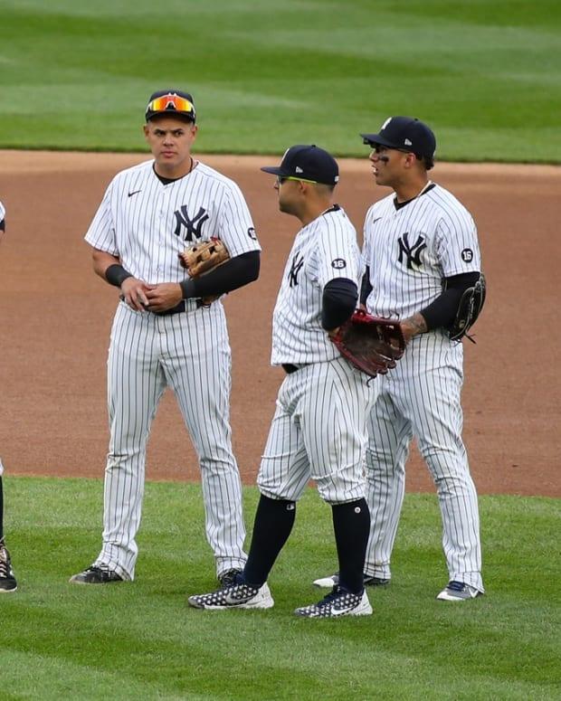 Yankees infielders DJ LeMahieu, Gio Urshela, Rougned Odor, Gleyber Torres