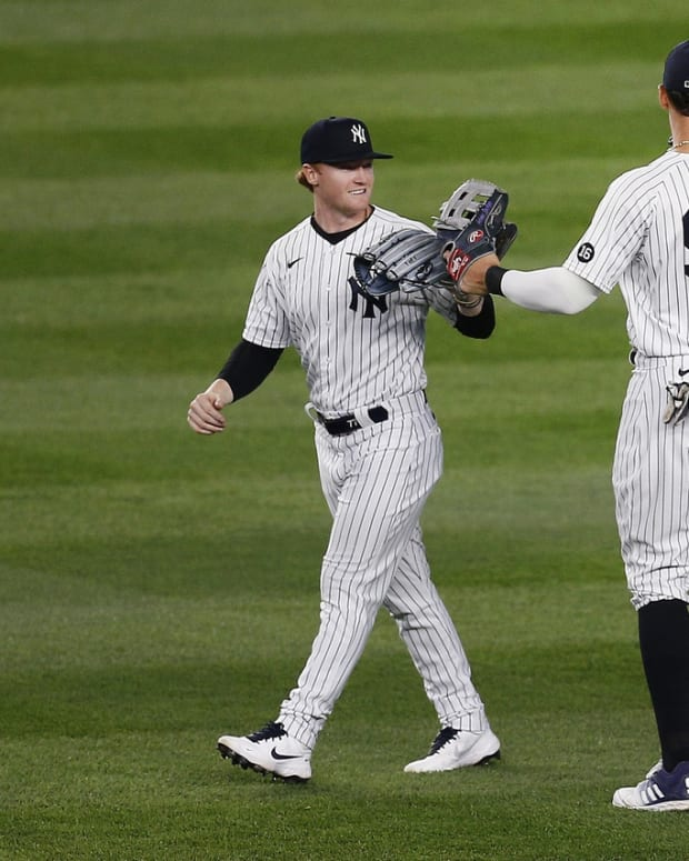 Yankees celebrate win Aaron Judge Clint Frazier