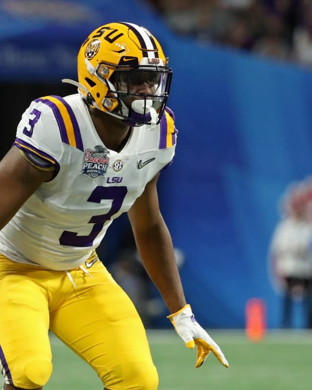 LSU Tigers defensive back JaCoby Stevens (3) during the second half of the 2019 Peach Bowl college football playoff semifinal game against the Oklahoma Sooners at Mercedes-Benz Stadium.