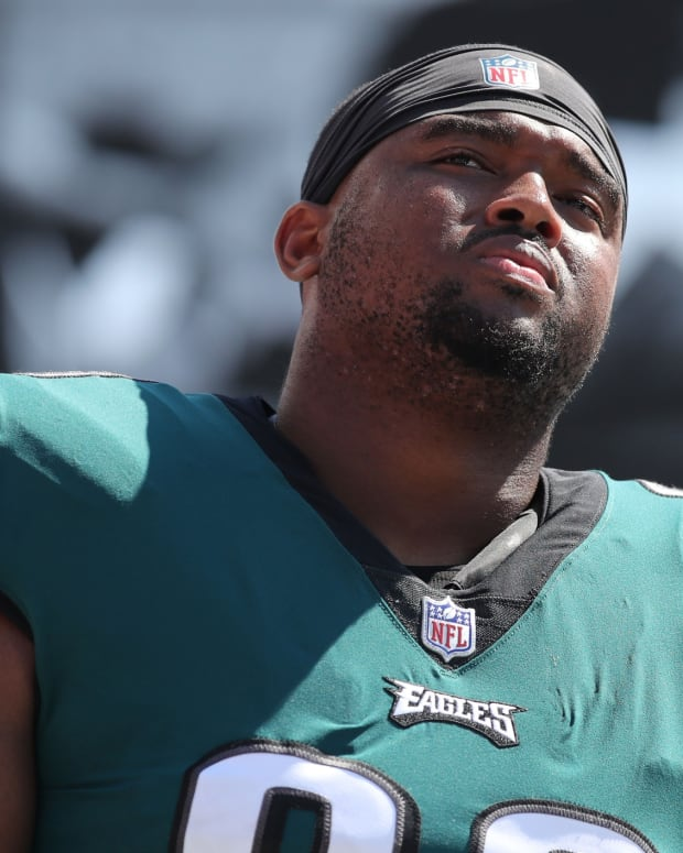 Philadelphia Eagles defensive tackle Bruce Hector (98) during the second half at Raymond James Stadium.