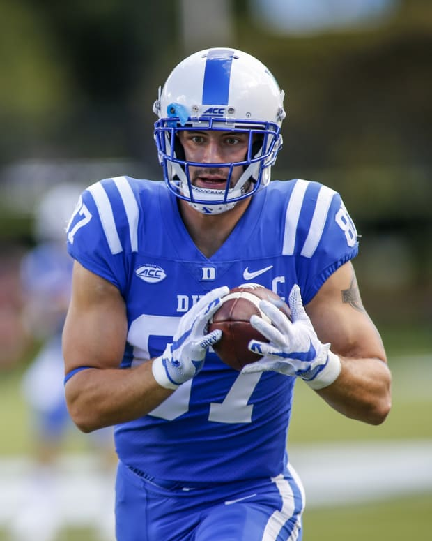 Oct 3, 2020; Durham, North Carolina, USA; Duke Blue Devils tight end Noah Gray (87) makes a catch during warm ups before playing against the Virginia Tech Hokies at Wallace Wade Stadium. Mandatory Credit: Nell Redmond-USA TODAY Sports