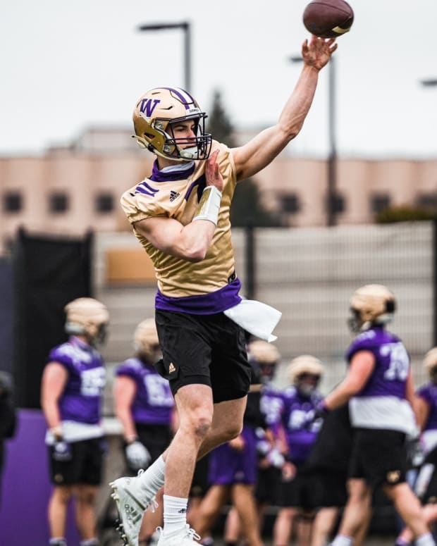 Sam Huard is shown on his first day of spring practice.