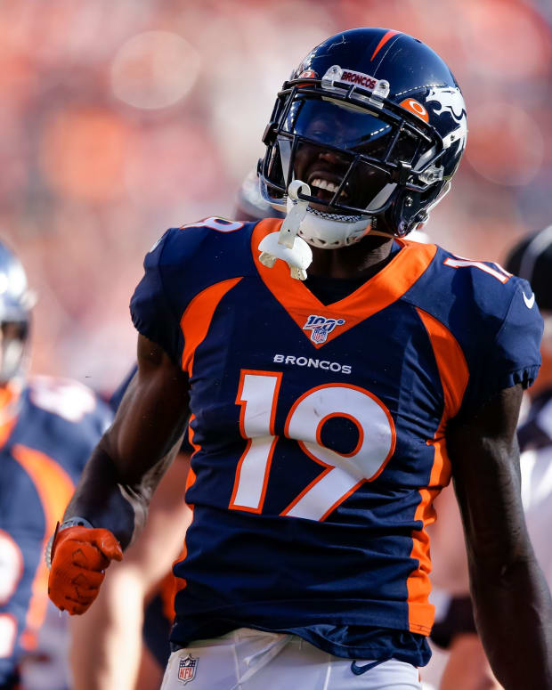 Denver Broncos wide receiver Fred Brown (19) reacts in the third quarter against the Tennessee Titans at Empower Field at Mile High.