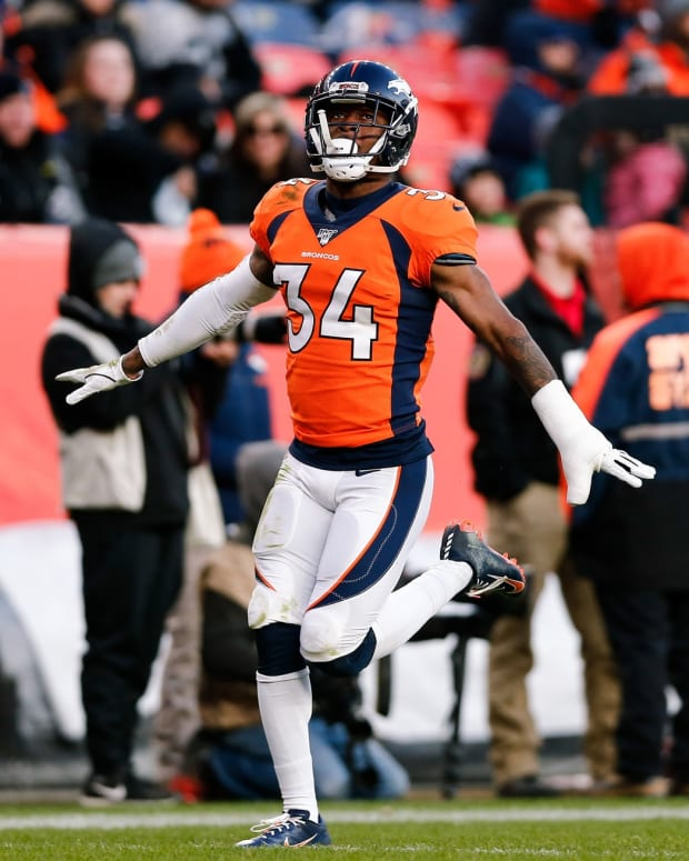 Dec 29, 2019; Denver, Colorado, USA; Denver Broncos strong safety Will Parks (34) reacts after a play in the third quarter against the Oakland Raiders at Empower Field at Mile High. Mandatory Credit: Isaiah J. Downing-USA TODAY Sports