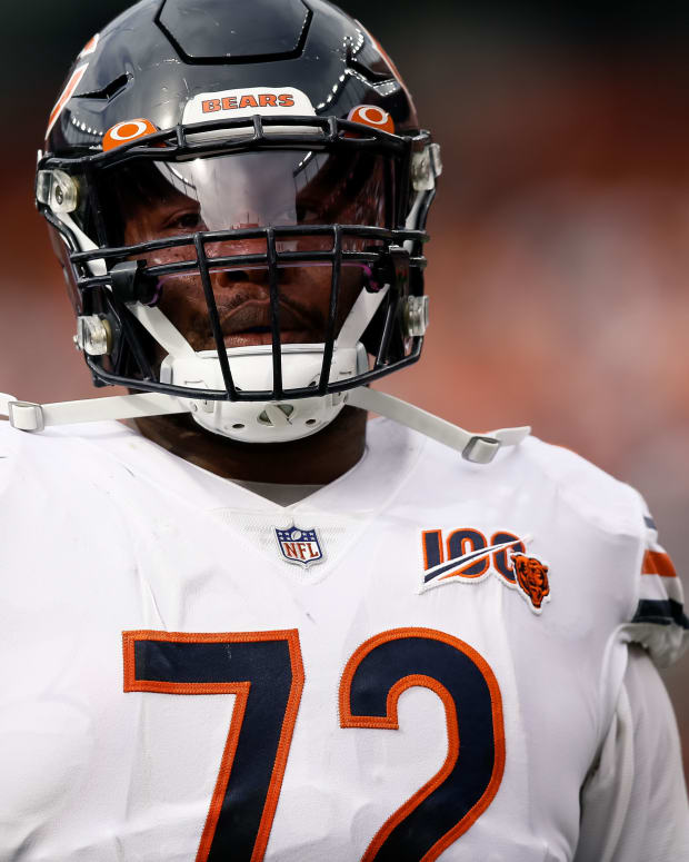 Sep 15, 2019; Denver, CO, USA; Chicago Bears offensive tackle Charles Leno Jr. (72) in the second quarter against the Denver Broncos at Empower Field at Mile High. Mandatory Credit: Isaiah J. Downing-USA TODAY Sports
