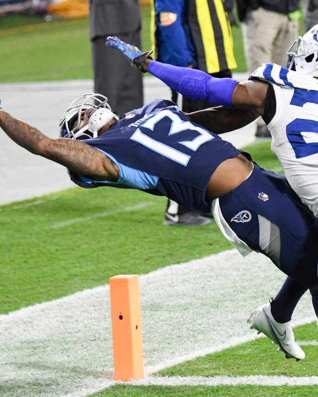 Indianapolis Colts cornerback Rock Ya-Sin (26) breaks up a pass intended for Tennessee Titans wide receiver Cameron Batson (13) on a play ruled pass interference during the second quarter at Nissan Stadium Thursday, Nov. 12, 2020 in Nashville, Tenn.