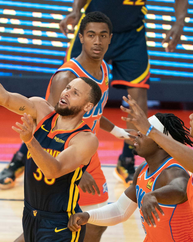 Stephen Curry, Lu Dort, Moses Brown, Theo Maledon, Golden State Warriors