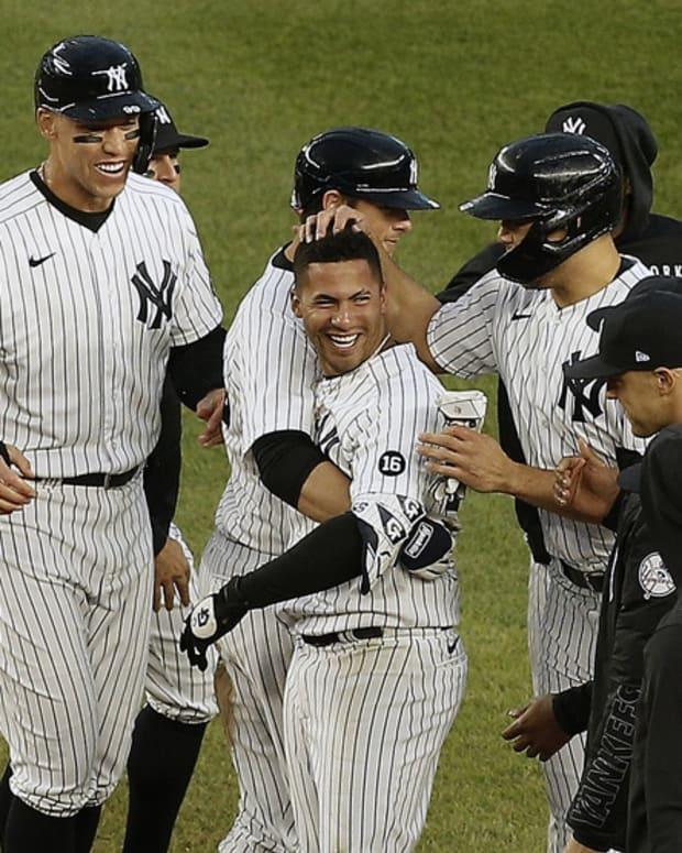 Gleyber Torres celebrates walk-off