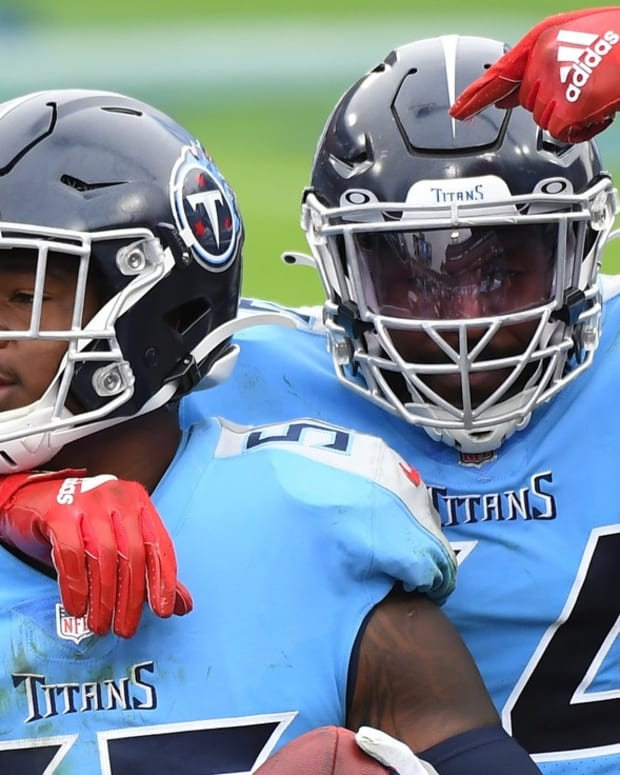 Tennessee Titans inside linebacker Jayon Brown (55) celebrates with Tennessee Titans inside linebacker Rashaan Evans (54) after an interception during the second half against the Pittsburgh Steelers at Nissan Stadium.