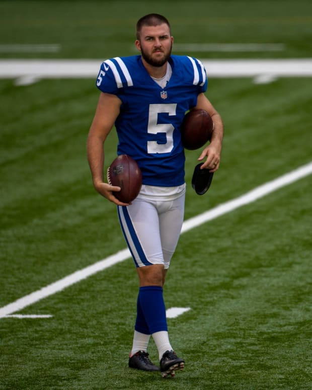 Chase McLaughlin, kicker, during Colts practice at Lucas Oil Stadium, Monday, Aug. 24, 2020. Colts Try Out Home Turf For Practice