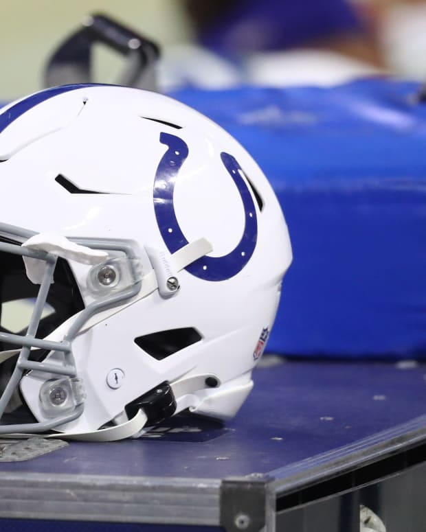 Dec 13, 2020; Paradise, Nevada, USA; Detailed view of an Indianapolis Colts helmet against the Las Vegas Raiders at Allegiant Stadium. Mandatory Credit: Mark J. Rebilas-USA TODAY Sports
