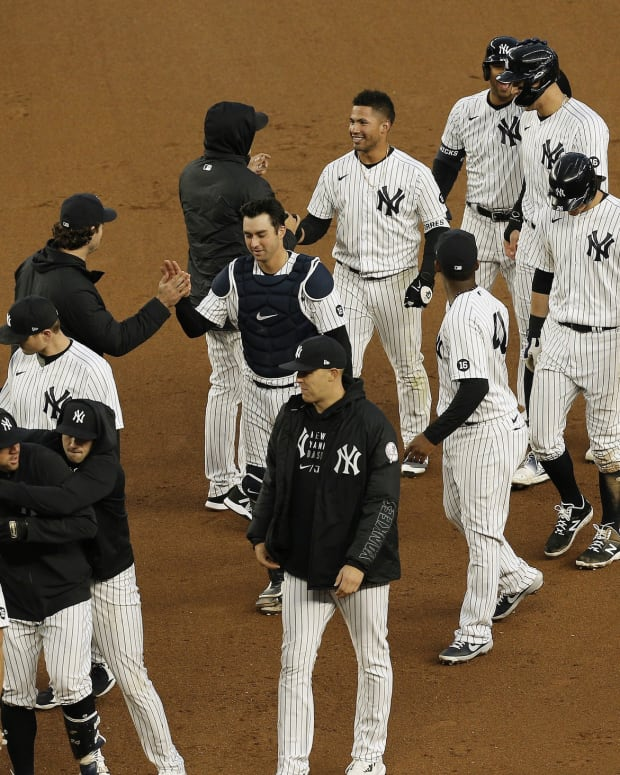 New York Yankees celebrate walk-off win