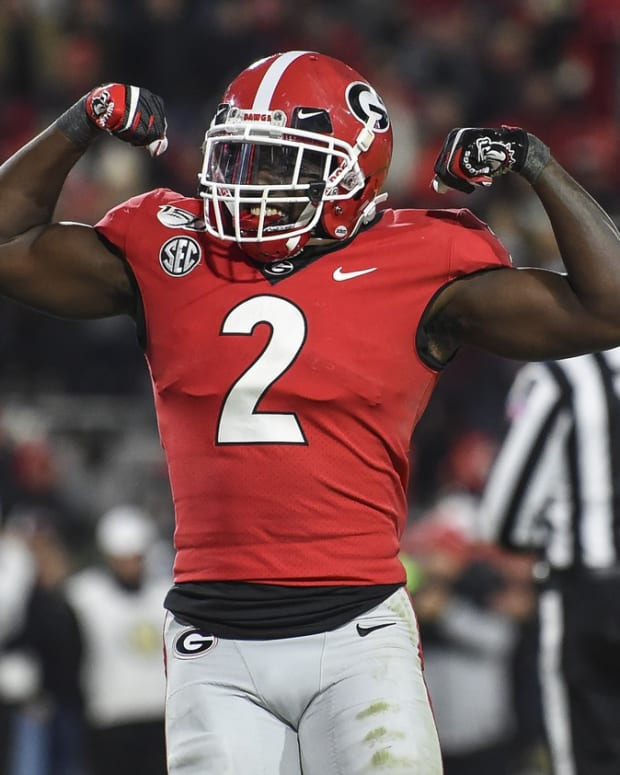 Nov 9, 2019; Athens, GA, USA; Georgia Bulldogs defensive back Richard LeCounte (2) reacts after Georgia stoped the Missouri Tigers on fourth and goal during the second half at Sanford Stadium. Mandatory Credit: Dale Zanine-USA TODAY Sports