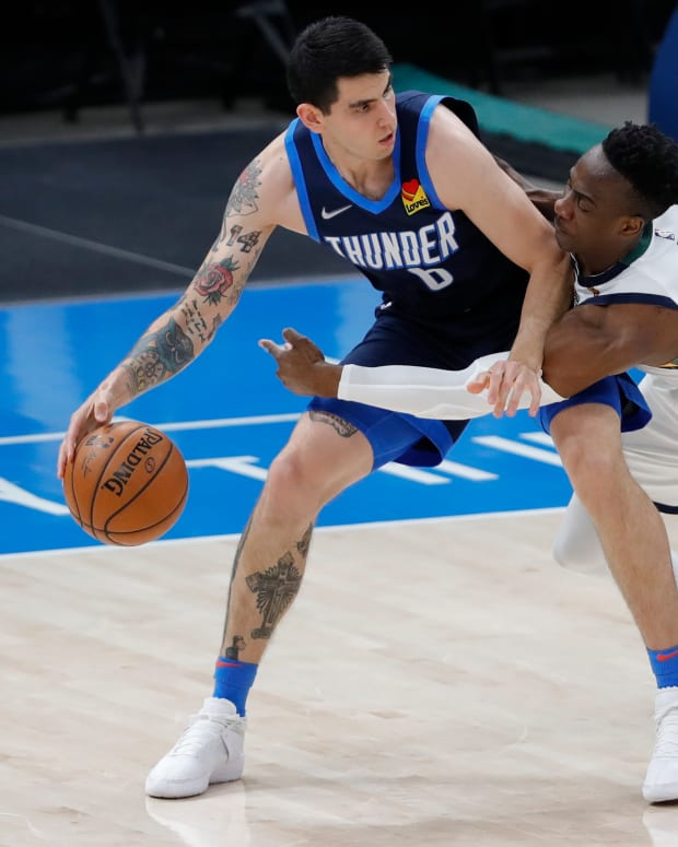 Gabriel Deck dribbles the ball during the Thunder-Jazz matchup on May 14, 2021.