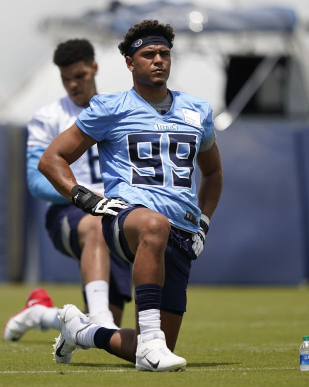 Tennessee Titans linebacker Rashad Weaver (99) warms up during NFL football rookie minicamp Saturday, May 15, 2021, in Nashville, Tenn.