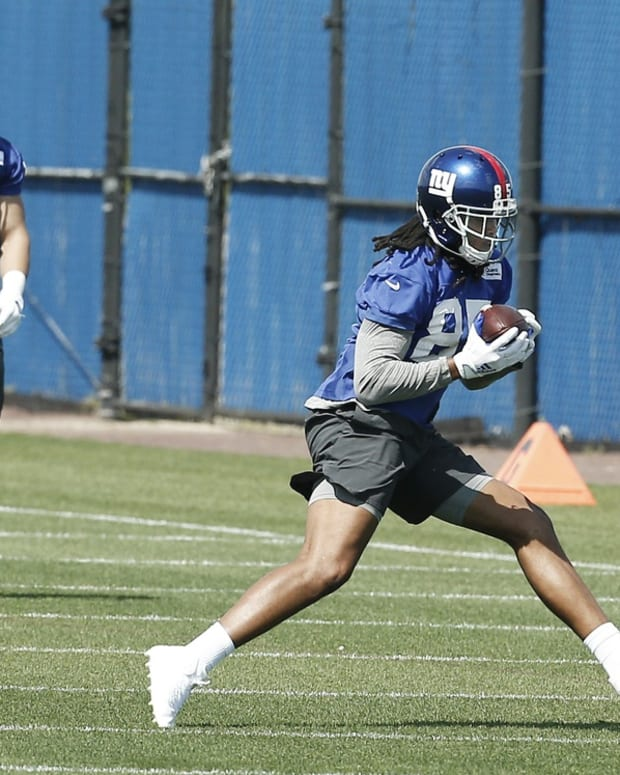 May 14, 2021; East Rutherford, New Jersey, USA; New York Giants tight end Kelvin Benjamin (85) works out during rookie minicamp at Quest Diagnostics Training Center. Mandatory Credit: Andy Marlin-USA TODAY Sports
