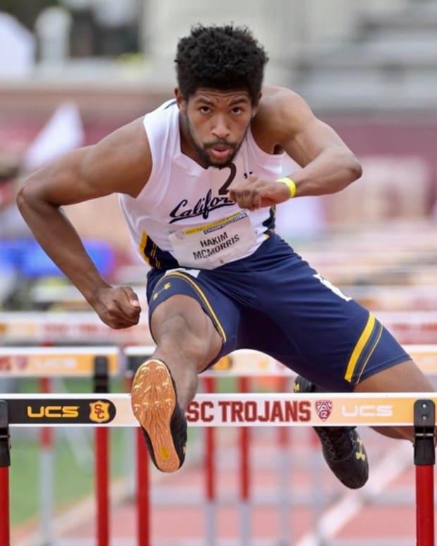 Cal decathlete Hakim McMorris won the hurdles race at the Pac-12 meet