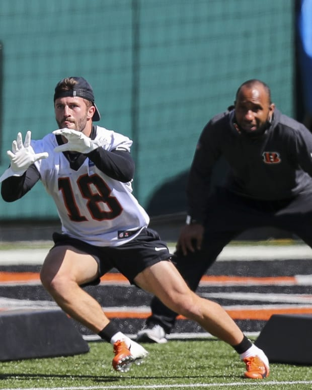 May 14, 2021; Cincinnati, Ohio, USA; Cincinnati Bengals wide receiver Trent Taylor (18) catches a pass during NFL minicamp at Paul Brown Stadium. Mandatory Credit: Katie Stratman-USA TODAY Sports
