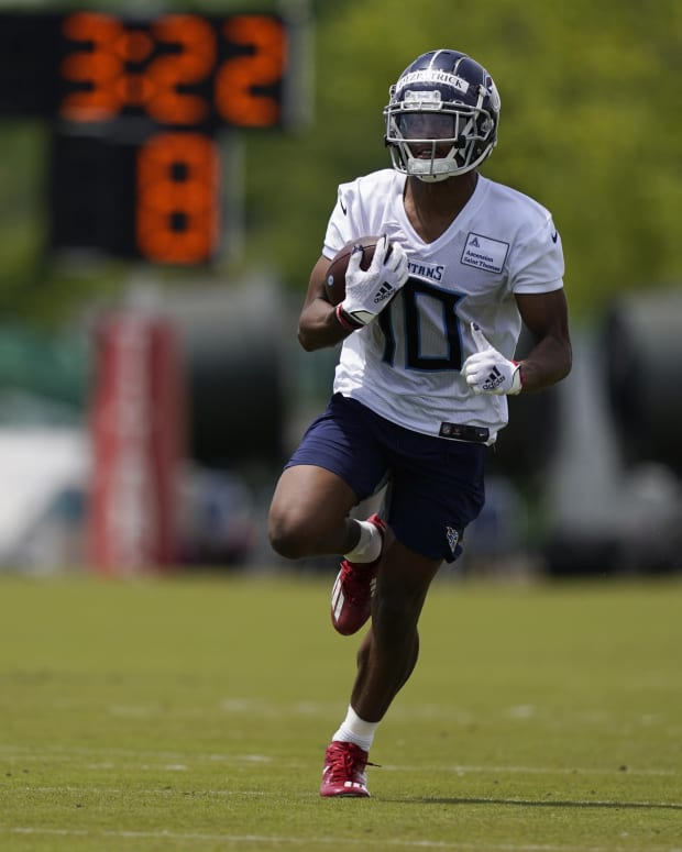 Tennessee Titans wide receiver Dez Fitzpatrick runs a drill during NFL football rookie minicamp Saturday, May 15, 2021, in Nashville, Tenn.