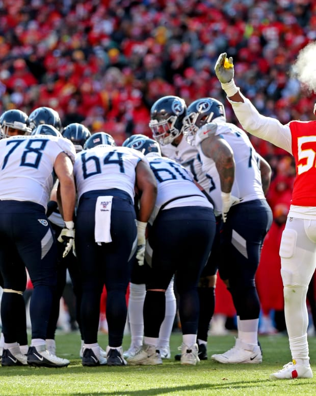 Jan 19, 2020; Kansas City, Missouri, USA; Kansas City Chiefs defensive end Frank Clark (55) reacts after a play during the first quarter against the Tennessee Titans in the AFC Championship Game at Arrowhead Stadium. Mandatory Credit: Jay Biggerstaff-USA TODAY Sports