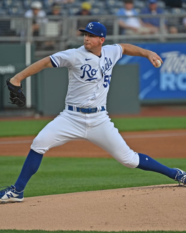 May 18, 2021; Kansas City, Missouri, USA; Kansas City Royals starting pitcher Kris Bubic (50) delivers a pitch during the first inning against the Milwaukee Brewers at Kauffman Stadium. Mandatory Credit: Peter Aiken-USA TODAY Sports