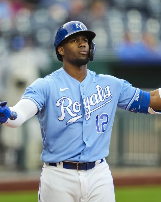 May 22, 2021; Kansas City, Missouri, USA; Kansas City Royals designated hitter Jorge Soler (12) reacts after a pitch during the seventh inning against the Detroit Tigers at Kauffman Stadium. Mandatory Credit: Jay Biggerstaff-USA TODAY Sports
