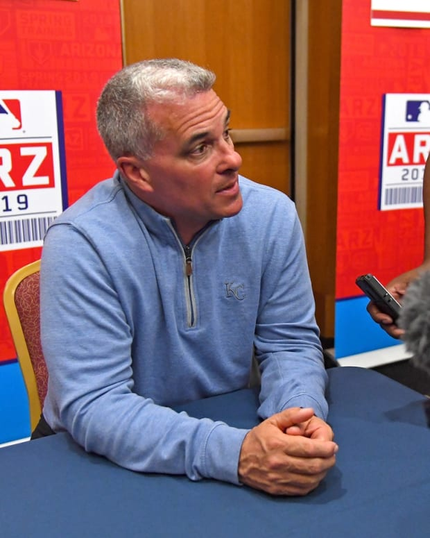Feb 19, 2019; Glendale, AZ, USA; Kansas City Royals Senior Vice President of Baseball Operations and General Manager Dayton Moore speaks to the media during spring training media day at the Glendale Civic Center. Mandatory Credit: Jayne Kamin-Oncea-USA TODAY Sports