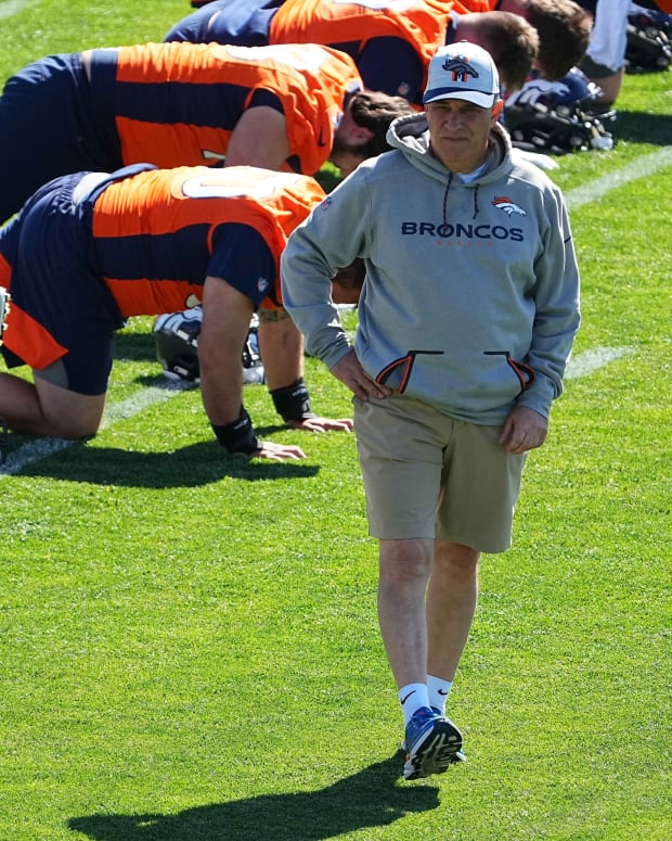 Denver Broncos head coach Vic Fangio during organized team activities at the UCHealth Training Center.