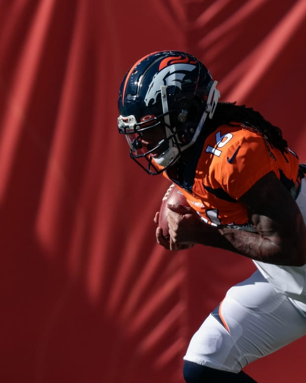 Denver Broncos wide receiver Tyrie Cleveland (16) before the game against the Los Angeles Chargers at Empower Field at Mile High.